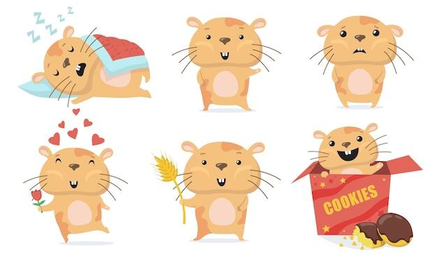 愛らしいハムスターセット。かわいい面白い漫画ハムスターは寝て、こんにちは手を振って、愛に花を与え、箱の中でクッキーを食べます。動物、ペット、げっ歯類の概念のベクトル図 無料ベクター