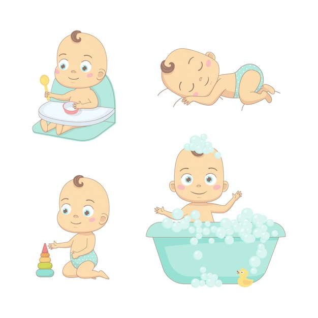 Adorable happy baby and his daily routine. Premium Vector