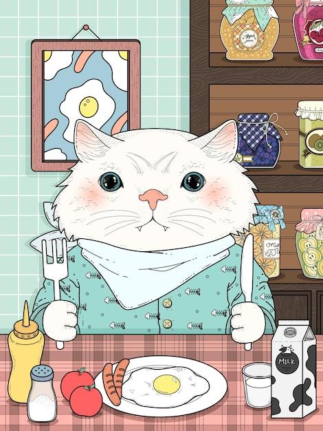Раскраска очаровательный котенок завтракает Premium векторы
