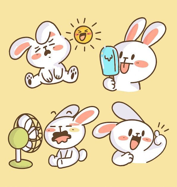 Adorable little bunny rabbit doodle illustration collection. best for print, digital asset, avatar Premium Vector