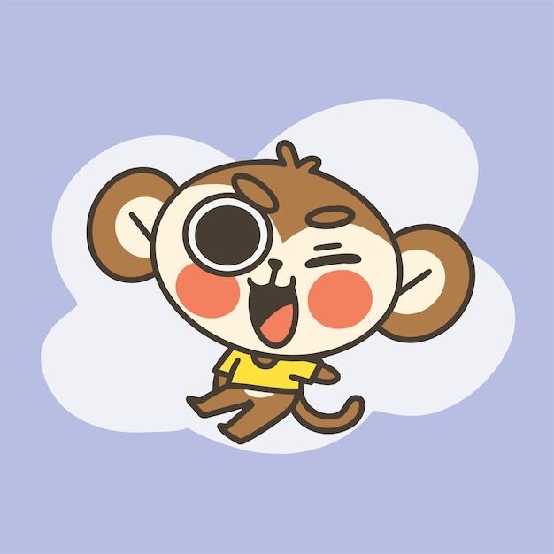 愛らしい小さな猿の男の子のマスコット落書きイラスト Premiumベクター