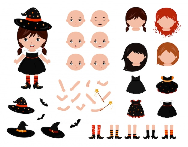 Adorable little witch paper doll set Premium Vector