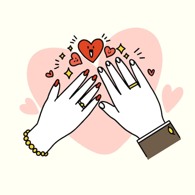 Adorable and lovely just married doodle Premium Vector