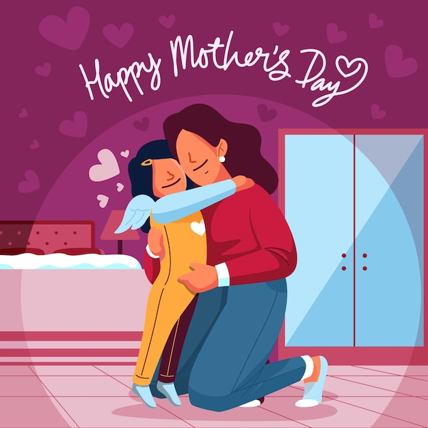 Adorable mother's day background Free Vector