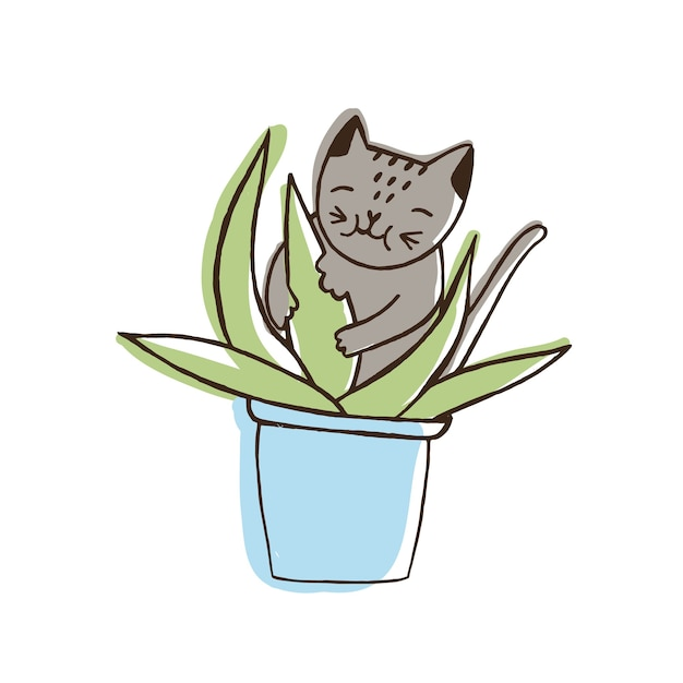Adorable nasty cat eating houseplants. naughty kitten gnawing plant growing in pot Premium Vector