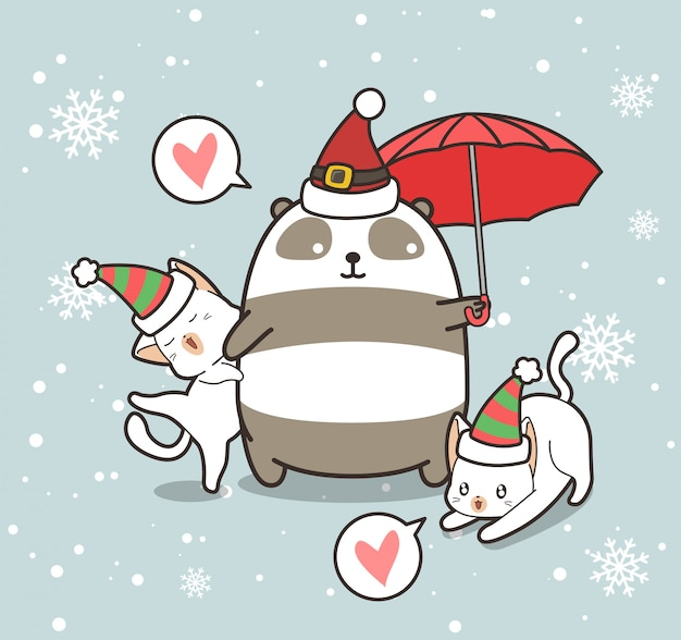 Adorable panda and cat characters are wearing christmas hat Premium Vector