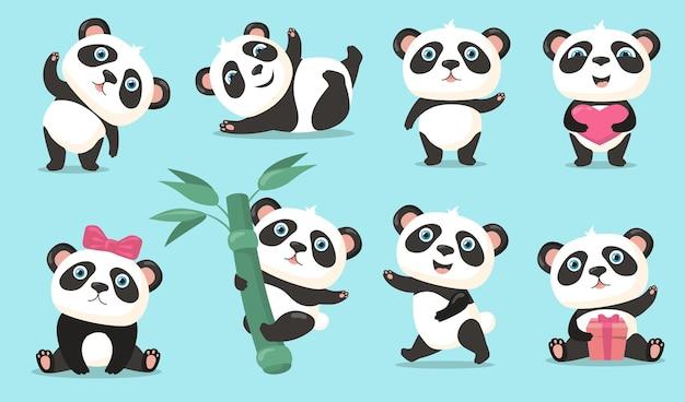 사랑스러운 팬더 세트. 귀여운 만화 중국 곰 아기 안녕하세요 흔들며, 심장 또는 선물을 들고, 대나무 줄기에 매달려, 춤과 재미. 동물, 자연, 야생 동물 개념에 대 한 벡터 일러스트 레이 션 무료 벡터