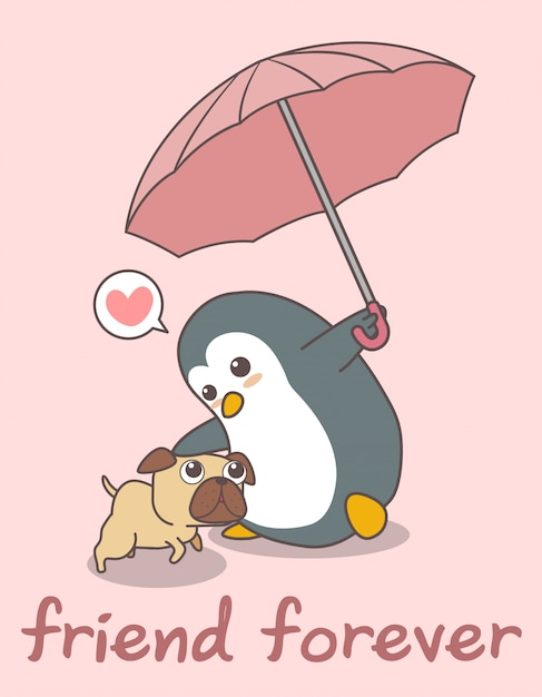 Adorable penguin is holding umbrella with a dog Premium Vector