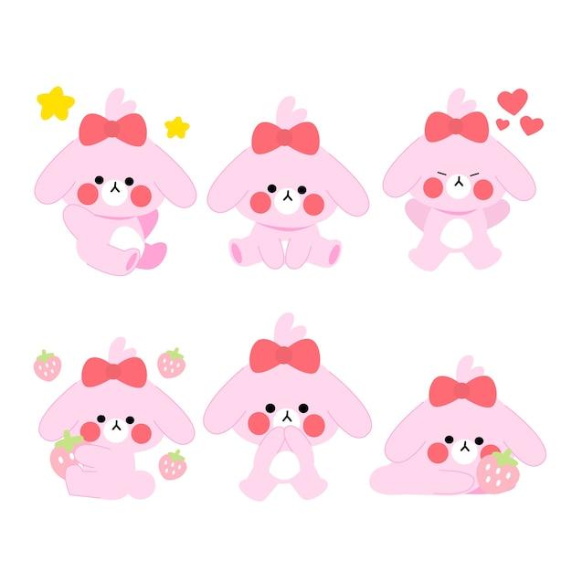 Очаровательны играя розовый щенок персонаж иллюстрации коллекции активов Premium векторы