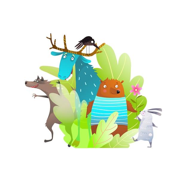 森の赤ちゃん動物の組成の愛らしい肖像画面白い愚かな顔の漫画、ウサギのオオカミのヘラジカとムースの友達。 Premiumベクター