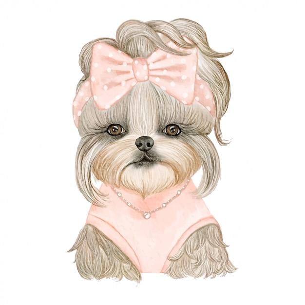 リボンの水彩イラストがかわいい子犬犬 Premiumベクター