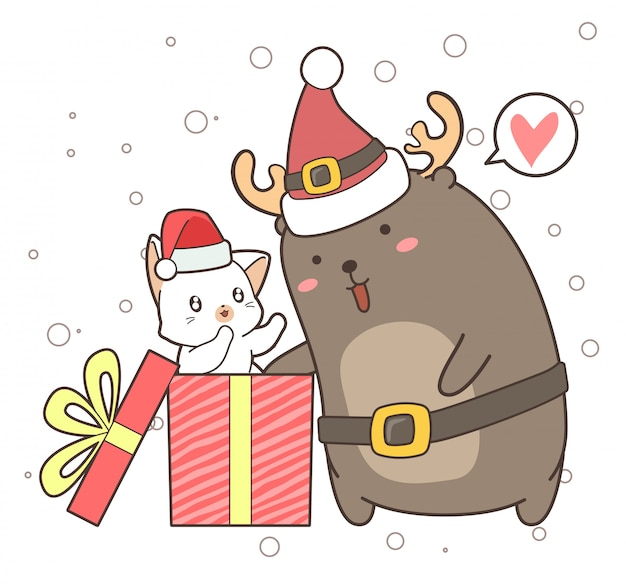 Adorable reindeer and cat in the box in christmas day Premium Vector