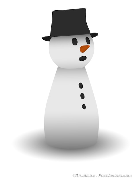 Adorable snowman sculpture with black\ hat