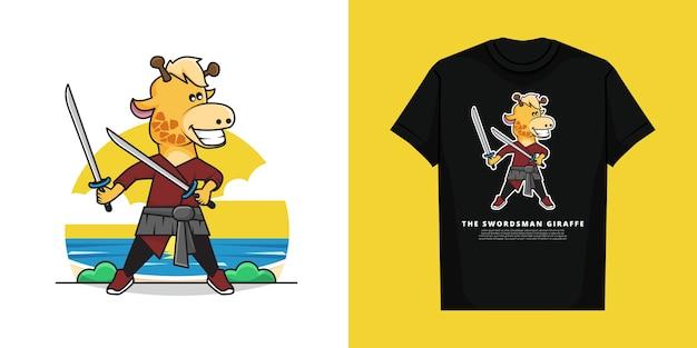 Tシャツと愛らしい剣士キリン Premiumベクター
