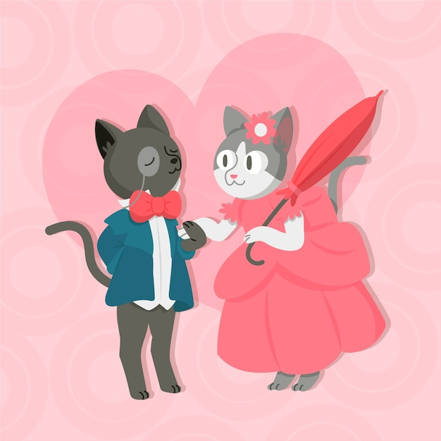 Adorable valentine's day animal couple Free Vector