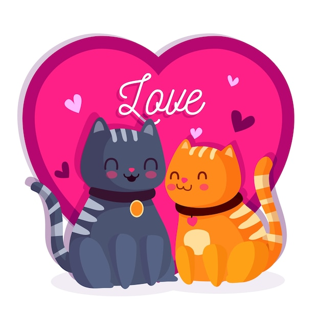 Adorable valentine's day cat couple Free Vector