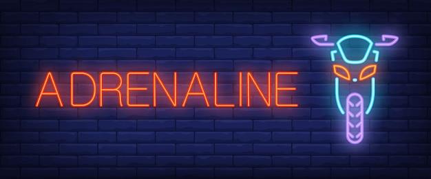 Adrenaline neon style banner Free Vector