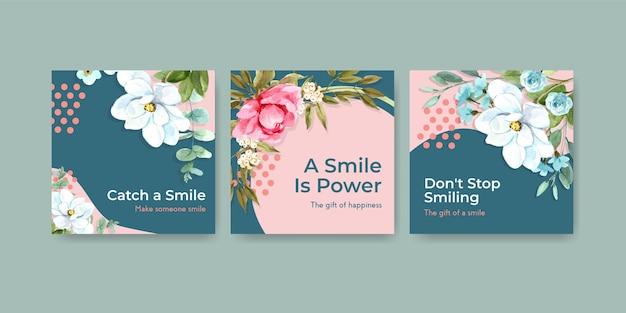 Шаблон рекламы с дизайном букета цветов для концепции всемирного дня улыбки для маркетинга акварельной векторной иллюстрации. Бесплатные векторы