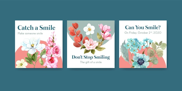 Ads template with flowers bouquet design for world smile day concept to marketing watercolor vector illustraion. Free Vector