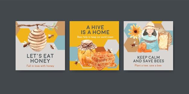 Modello di annunci con miele per il marketing e la pubblicità dell'acquerello Vettore gratuito