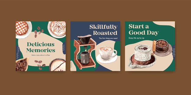 Ads template with international coffee day concept design for advertise and marketing watercolor Free Vector