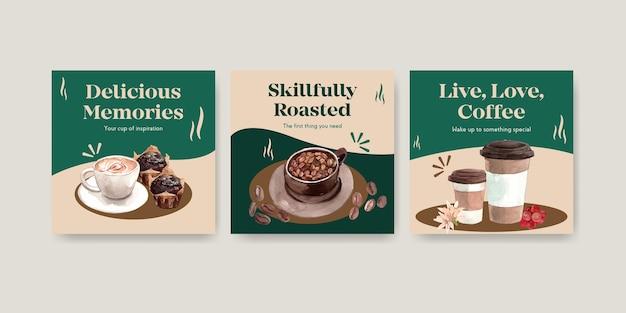 Шаблон рекламы с концептуальным дизайном международного дня кофе для рекламы и маркетинговой акварели Бесплатные векторы