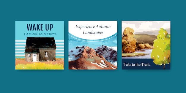 Modello di annunci con paesaggio in autunno design per post instagram Vettore gratuito