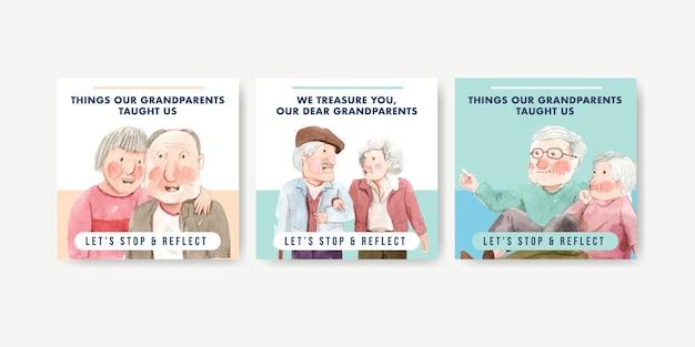 Modello di annunci con concept design nazionale dei nonni per pubblicità e marketing acquerello. Vettore gratuito