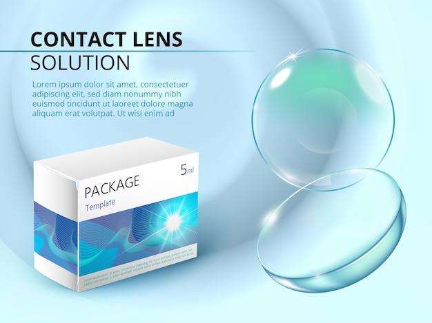 リアルなコンタクトレンズ、水しぶき、薬のパッケージを備えた広告テンプレート。 Premiumベクター