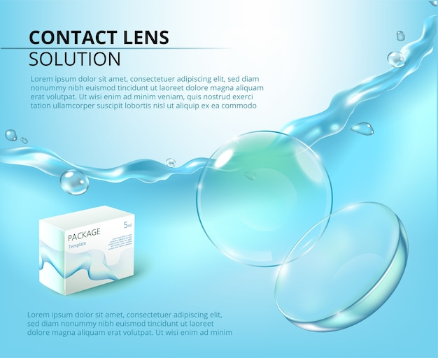 Ads template with realistic contact lens, water splash and medicine package. Premium Vector