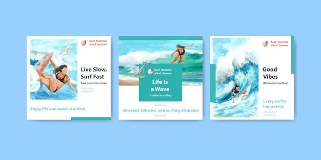 ビーチでサーフボードを含む広告テンプレート 無料ベクター