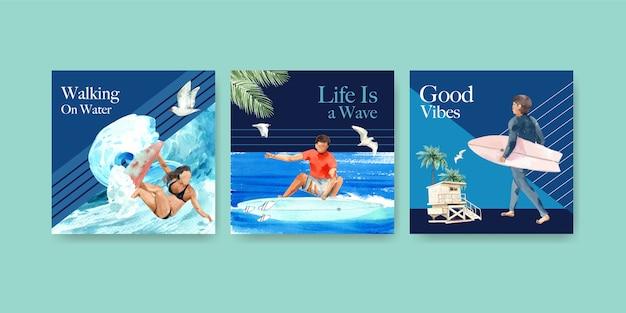 Modello di annunci con tavole da surf in spiaggia design per pubblicità e marketing illustrazione vettoriale dell'acquerello Vettore gratuito