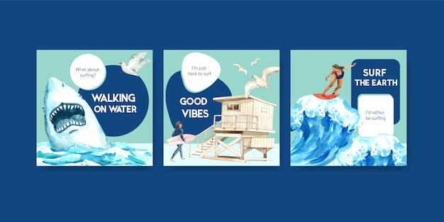 Modello di annunci con tavole da surf in spiaggia Vettore gratuito