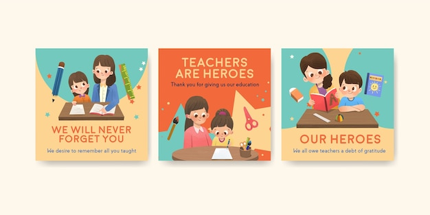 教師の日のコンセプトデザインの広告テンプレート 無料ベクター