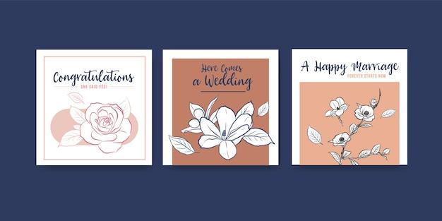 광고 및 전단지 벡터 일러스트 레이 션에 대 한 결혼식 개념 디자인 광고 템플릿. 무료 벡터