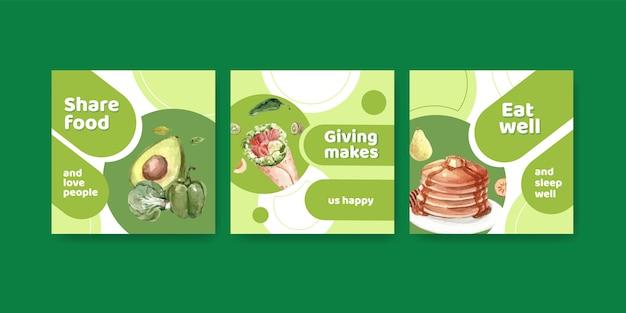 Modello di annunci con concept design della giornata mondiale dell'alimentazione per pubblicità e marketing ad acquerello Vettore gratuito