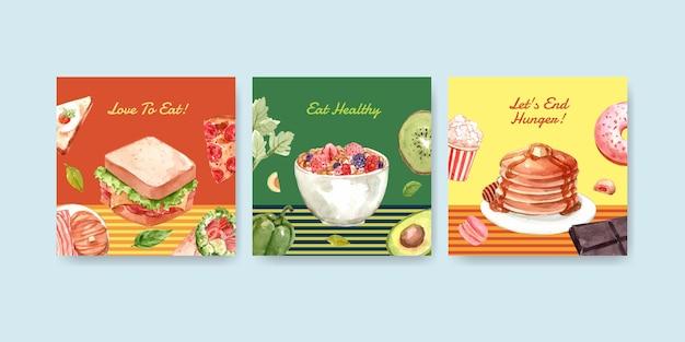 Шаблон рекламы с концептуальным дизайном всемирного дня еды для рекламы и маркетинговой акварели Бесплатные векторы