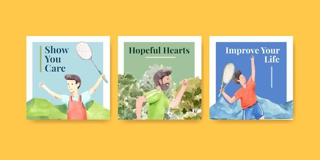 Шаблон рекламы с концептуальным дизайном всемирного дня психического здоровья для рекламы и маркетинговой акварели Бесплатные векторы