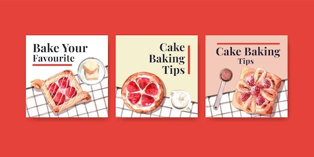 Рекламные шаблоны для продажи хлебобулочных изделий Бесплатные векторы