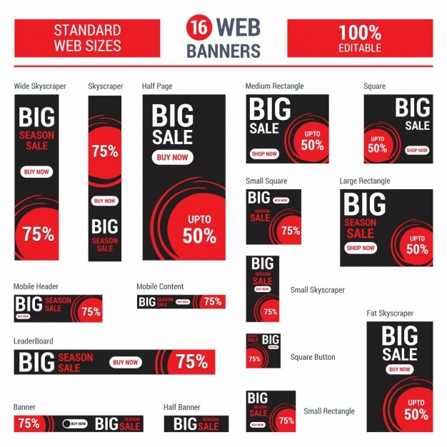 Adsense red big sale banners Free Vector