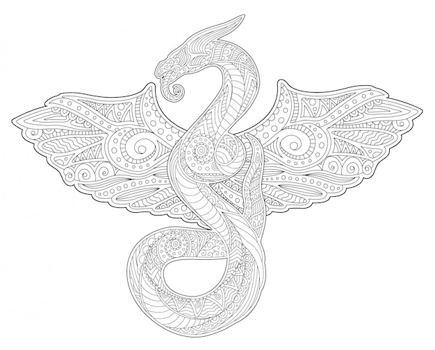 Adult coloring book art with snake and wings Premium Vector