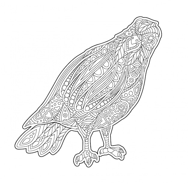 Adult coloring book page with decorative dove Premium Vector