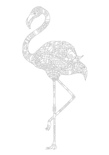 Adult coloring ornament ornamental colored coloring flamingo Free Vector