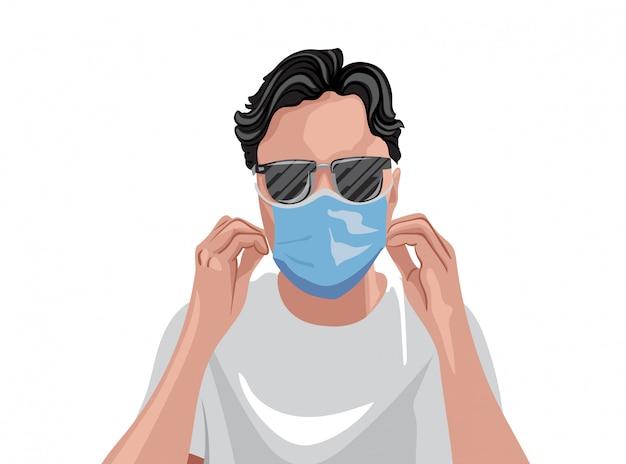 保護医療マスクとサングラスを身に着けている白いtシャツの大人 Premiumベクター