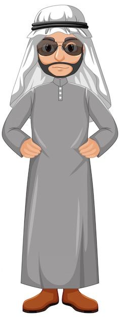 Uomo adulto arabo che indossa il personaggio del costume arabo Vettore gratuito