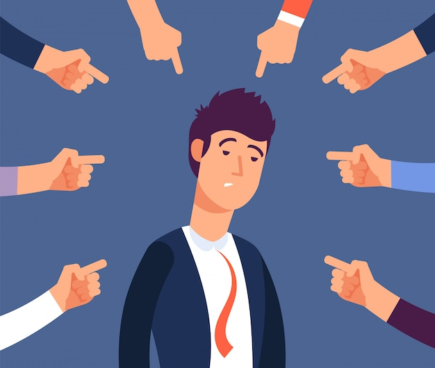 Adult man get harassment by angry coworkers Premium Vector