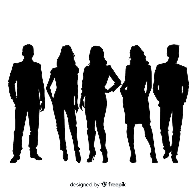 Adult people silhouettes background Free Vector