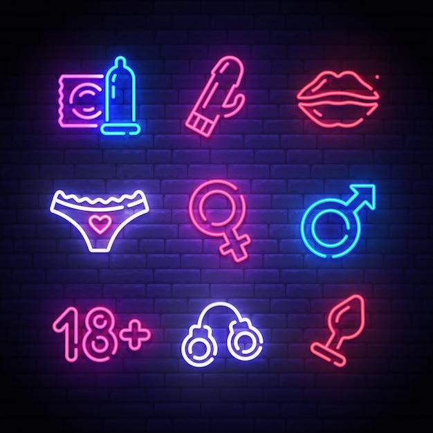 Adult tools. sex shop neon sign Premium Vector