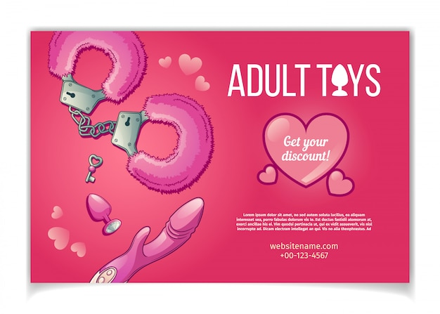 Adult toys and accessories for sexual role play banner Free Vector