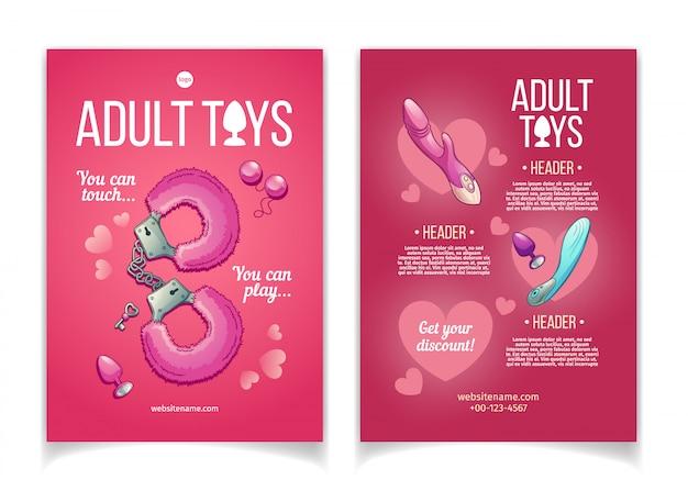 Adult toys cartoon advertising brochure Free Vector
